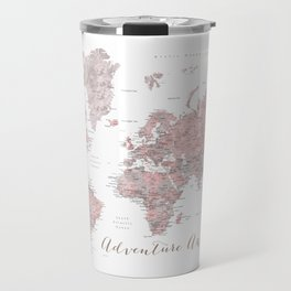 World map in dusty pink & grey watercolor, Adventure awaits Travel Mug