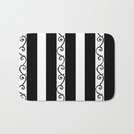 Stripes and Thorny Vines by Dark Decors - Black and Whites Bath Mat