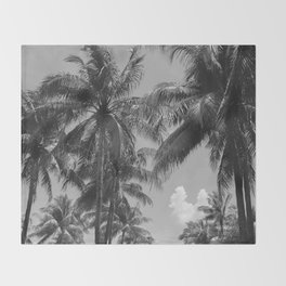 Palm Trees Black and White Photography Throw Blanket