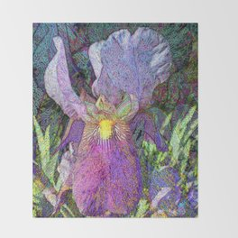 Impressionist Iris Throw Blanket