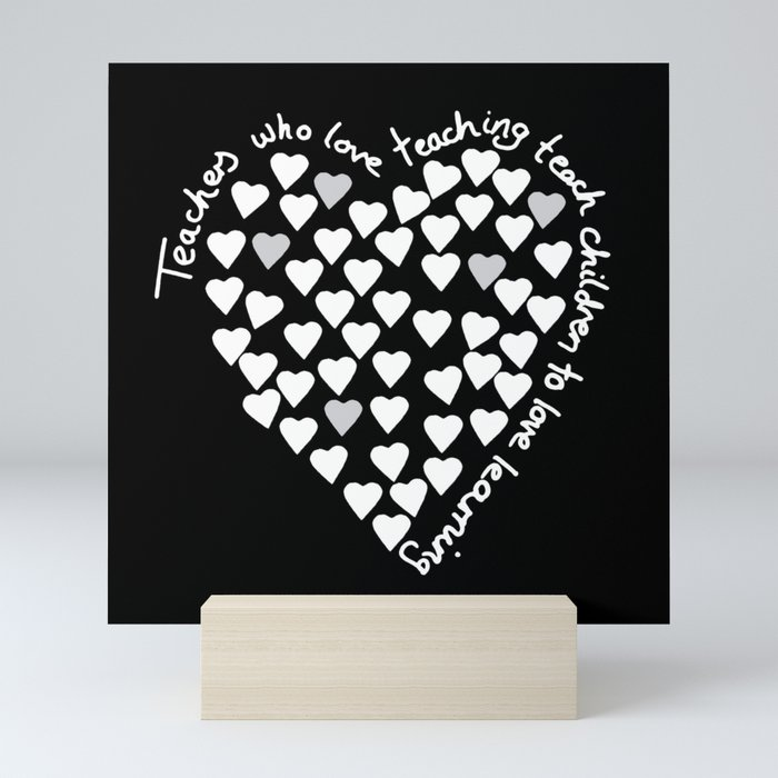 Hearts Heart Teacher White on Black Mini Art Print