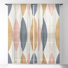 Colorful Pastel Geometric Scale Pattern Pink Navy Gold Art Deco Sheer Curtain