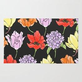 dark crowded floral Rug