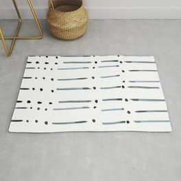 black and white dots and dashes boho modern Rug