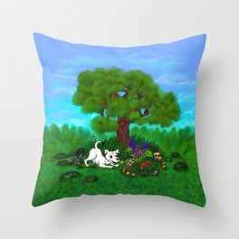 Easter - Spring-awakening - Puppy Capo and Butterfly Throw Pillow