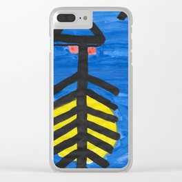 Fish bone watercolor Clear iPhone Case