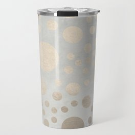 Champagne Gold Dots Pattern on Old Metal Texture Travel Mug