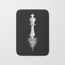 Farewell to the Pale King / 3D render of chess king breaking apart Bath Mat