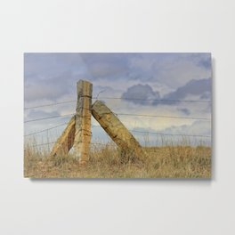 Kansas  Corner Stone Post Fence Metal Print