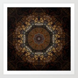 Rich Brown and Gold Textured Mandala Art Art Print