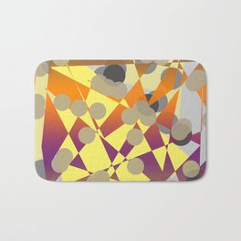 abstract geometrical art in blue yellow orange purple brown grey color Bath Mat