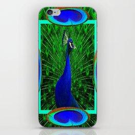 Decorative Blue & Green Peacock Art Design iPhone Skin