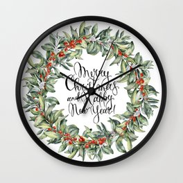 Merry Christmas and Happy New Year! Watercolor Wall Clock