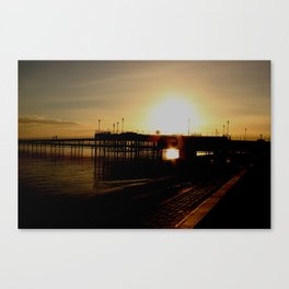 sundown at the pier Canvas Print