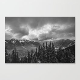 Banff Gondola Black and White Landscape Canvas Print