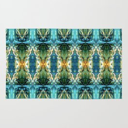 Yellow Green Blue Ice Sculptures Pattern Rug