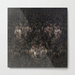 Tree wolf  (feather pattern) Metal Print