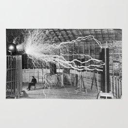 Nikola Tesla Vintage Photograph Double Exposure Electricity, 1889 Rug