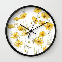 Yellow Cosmos Flowers Wall Clock