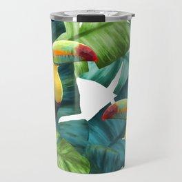 Toucans Tropical Banana Leaves Pattern Travel Mug