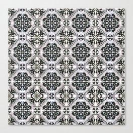 Portuguese Tiles Azulejos Black White Pattern Canvas Print