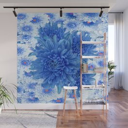 Oriental Style  Blue Chrysanthemums Garden Floral Pattern Wall Mural