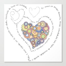 Graphic poem about love in Portuguese Canvas Print