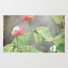 Asiatic Flowers in Pale Pink Rug