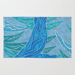 Watercolor Whale Dive Rug