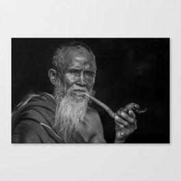 Portrait of an Elderly Man Smoking Pipe Canvas Print