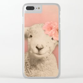 Flower Sheep Girl Portrait, Dusty Flamingo Pink Background Clear iPhone Case
