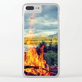 Alaskan Bonfire Landscape Clear iPhone Case