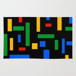 Abstract Google Art Red Green Blue Yellow on Black Rug