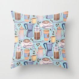 Coffee Love on Blue Throw Pillow