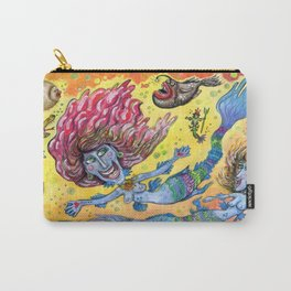 Blue-Finned Mermaids watercolor Carry-All Pouch