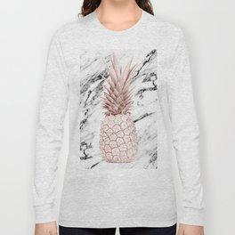 Pineapple Rose Gold Marble Long Sleeve T-shirt