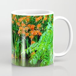 Wild Orange Tiger Daylilies at the Lake Coffee Mug