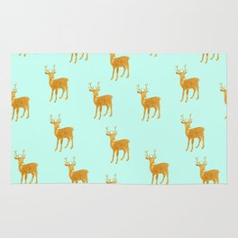 Deer. Mint and gold Rug