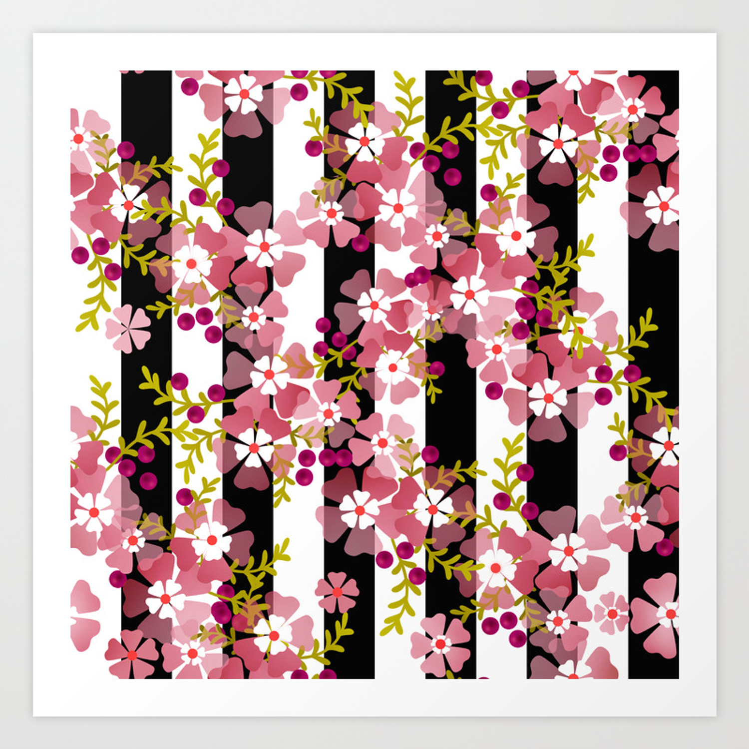 Floral Pattern Black And White Striped Background Art Print By