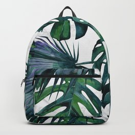 Tropical Palm Leaves Classic on Marble Backpack