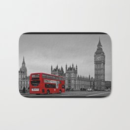 Black and White London with Red Bus Bath Mat