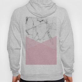 Real White marble Half Rose Pink Modern Shapes Hoody
