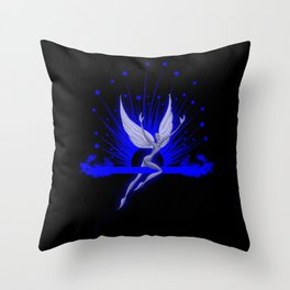 Electric Blue Angel Throw Pillow