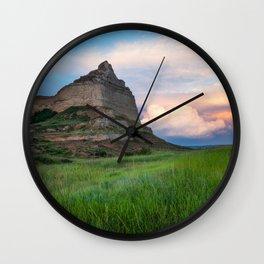 Scottsbluff - Landscape in Evening Light in Western Nebraska Wall Clock