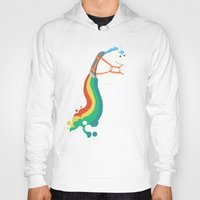 budi Hoodies featuring Fat Unicorn on Rainbow Jetpack by Picomodi