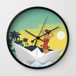 Girl in Boat Collage Wall Clock