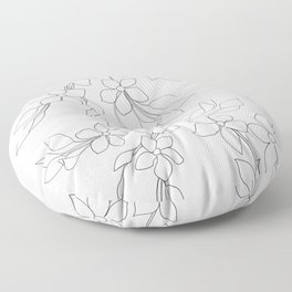 Minimal Wild Roses Line Art Floor Pillow