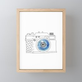 Underwater camera: mom & baby whale Framed Mini Art Print