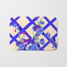 BLUE MORNING GLORIES & BLUE-CREAM LATTICE  DESIGN Bath Mat