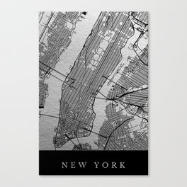 Silver new york map Canvas Print